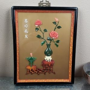 Vintage Asian buddha art rose wall hanging